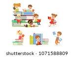 kids reading books and enjoying ... | Shutterstock .eps vector #1071588809