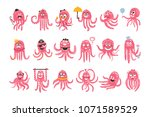 octopus emoticon icons with...