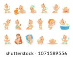 adorable happy baby and his... | Shutterstock .eps vector #1071589556