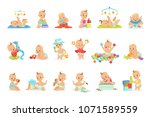adorable girly cartoon babies... | Shutterstock .eps vector #1071589559