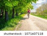 woman cycling a mountain bike... | Shutterstock . vector #1071607118