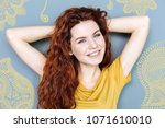 smiling person. emotional... | Shutterstock . vector #1071610010
