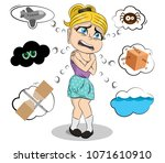 scared girl with various... | Shutterstock .eps vector #1071610910