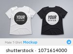 white and black men's t shirt... | Shutterstock .eps vector #1071614000