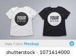white and black men's t shirt... | Shutterstock .eps vector #1071614000