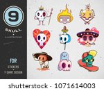 colorful patterned skull set.... | Shutterstock .eps vector #1071614003