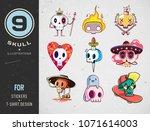 colorful patterned skull set....   Shutterstock .eps vector #1071614003