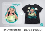 t shirt design with funny... | Shutterstock .eps vector #1071614030