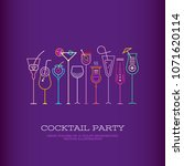 neon colors on a dark violet... | Shutterstock .eps vector #1071620114