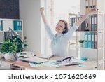 portrait of nice  positive ... | Shutterstock . vector #1071620669