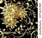 luxury 3d gold flowers seamless ... | Shutterstock .eps vector #1071621989