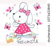 happy cute rabbit girl in pink... | Shutterstock .eps vector #1071623840