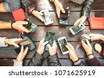 people group having addicted... | Shutterstock . vector #1071625919