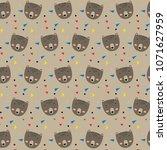 cute bear face pattern | Shutterstock .eps vector #1071627959