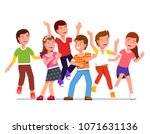 teen kids boys and girls group... | Shutterstock .eps vector #1071631136