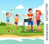 family outdoors picnic on river ... | Shutterstock .eps vector #1071637739