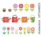 set of vector flowers  pots and ... | Shutterstock .eps vector #1071648023