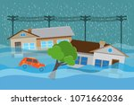 city   flood flooding water in... | Shutterstock .eps vector #1071662036