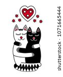 two lovers cats sleeping in... | Shutterstock .eps vector #1071665444