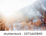view of the mountain with snow...   Shutterstock . vector #1071665840