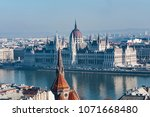 panoramic view of the danube... | Shutterstock . vector #1071668480