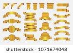 ribbon banner set. golden... | Shutterstock .eps vector #1071674048