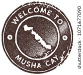 musha cay map vintage stamp.... | Shutterstock .eps vector #1071677090