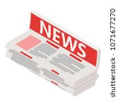 newspaper icon. isometric... | Shutterstock .eps vector #1071677270