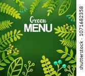 green leaves paper art cut out... | Shutterstock .eps vector #1071682358
