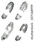 Black Shoe Prints On White...