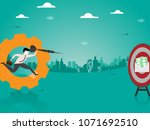 reach the salary up businessman ... | Shutterstock .eps vector #1071692510