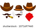 colorful cartoon 3 western... | Shutterstock .eps vector #1071697460