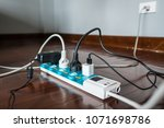 multi socket power strip with a ... | Shutterstock . vector #1071698786