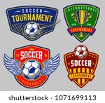 set of soccer emblems in colour ... | Shutterstock .eps vector #1071699113