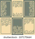 Set Of Six Cards With Floral...