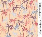 coconut palm tree pattern... | Shutterstock .eps vector #1071707180