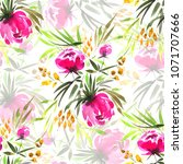 floral  watercolor seamless...   Shutterstock . vector #1071707666