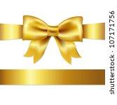 golden bow  isolated on white... | Shutterstock . vector #107171756