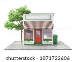 business concept. store with... | Shutterstock . vector #1071722606