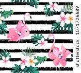 exotic summer print. seamless... | Shutterstock .eps vector #1071726689