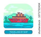 passenger travel ship or ocean... | Shutterstock .eps vector #1071732434