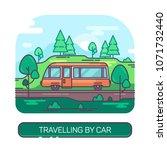 passenger bus driving on road... | Shutterstock .eps vector #1071732440