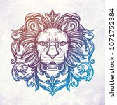 head of lion. isolated vector... | Shutterstock .eps vector #1071752384