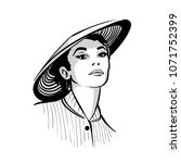 woman face portrait with hat....   Shutterstock .eps vector #1071752399