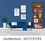 the design of the living room... | Shutterstock .eps vector #1071757193