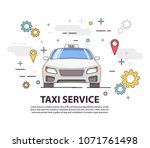 taxi service. car front view.... | Shutterstock .eps vector #1071761498