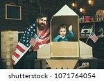 rocket launch concept. kid... | Shutterstock . vector #1071764054