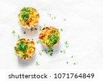 mini savory pie with chicken ... | Shutterstock . vector #1071764849