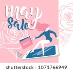 may sale flyer template with... | Shutterstock .eps vector #1071766949