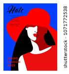 abstract female portrait in hat....   Shutterstock .eps vector #1071772538